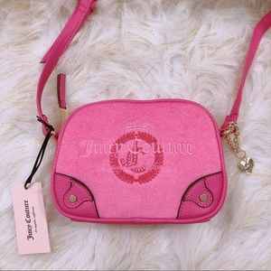 JUICY COUTURE MINI EMBROIDERY PINK CROSSBODY BAG
